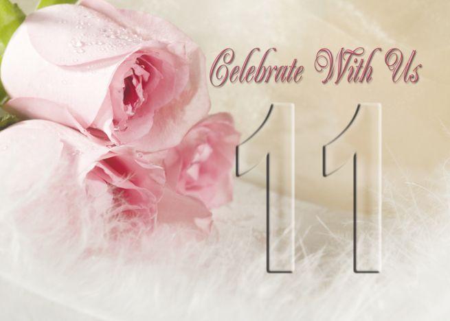 11th Wedding Anniversary Invitation Card With Roses And Feathers Card Ad Wedding Anniversary Invitations Anniversary Invitations Anniversary Party Invitations