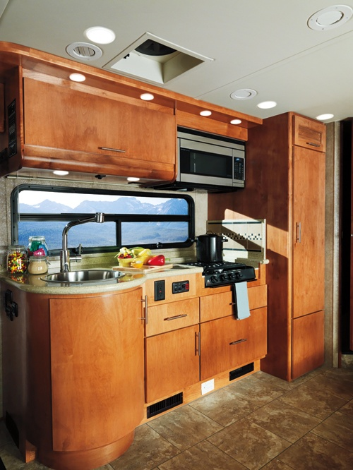 Holiday rambler trip simple yet modern kitchen rv for Minimalist living in an rv