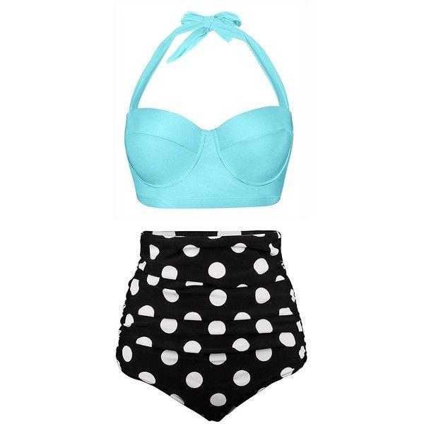 756c4f2dd3e Newbely Women Vintage Polka Dot High Waisted Bathing Suits Bikini ($20) ❤  liked on