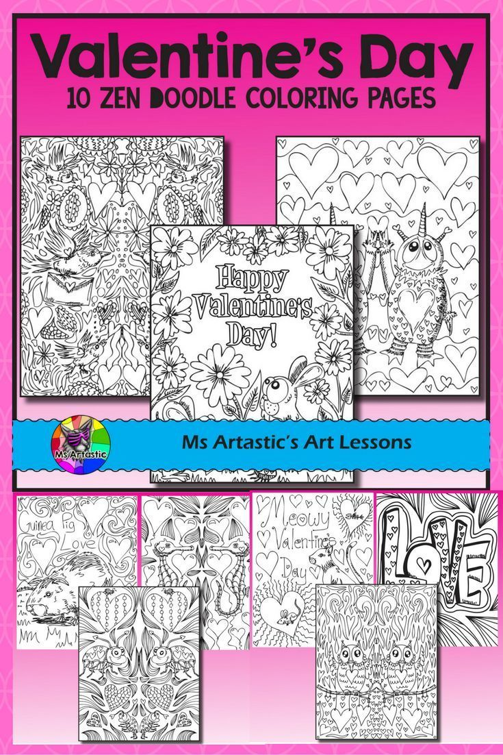 Love and kindness are in the air! 10 zentangle doodle coloring pages to celebrate Valentine's Day in your classroom. Mindful, zen, coloring sheets for all ages. All 10 pages are hand drawn by Ms Artastic. These coloring sheets are very detailed and are a