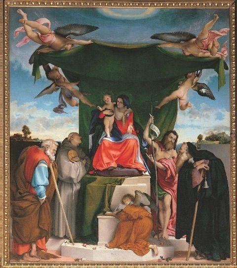 Lorenzo Lotto, Pala di San Bernardino,1521. Olio su tela. Chiesa di San Berardino in Pignolo, Bergamo.