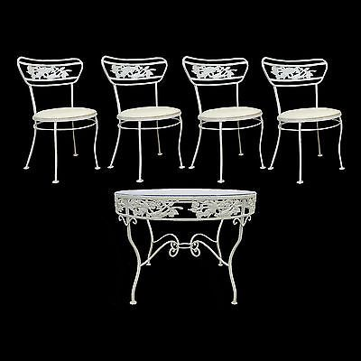 Vtg Mid Century Woodard Wrought Iron Birds Flowers Patio Dining Set Table Chairs<br/>Post-1950 - 156313