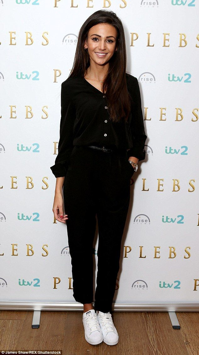 Michelle Keegan is uncharacteristically dressed down in casual button-down jumpsuit and trainers at Plebs photocall | Daily Mail Online