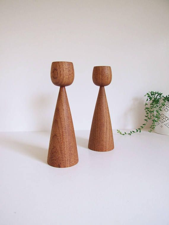 Mid Century Swedish Candle Holders  // Pair wooden