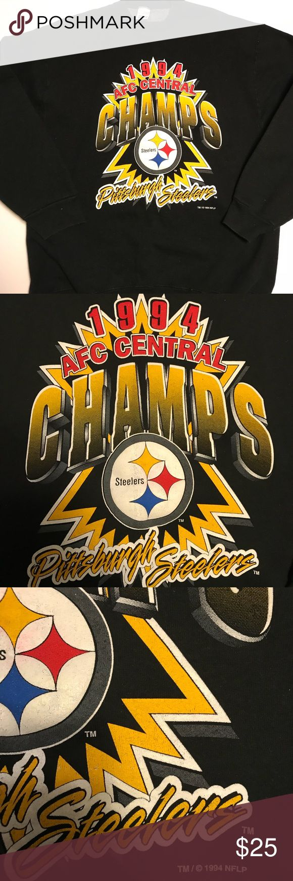 Vintage 1994 Pittsburgh Steelers Division Champs Item is in great condition for being for being 23 years old. With very few flaws in the graphics, it's a must have for any Steelers fan. Let me know if you have any questions. Vintage Sweaters Crewneck