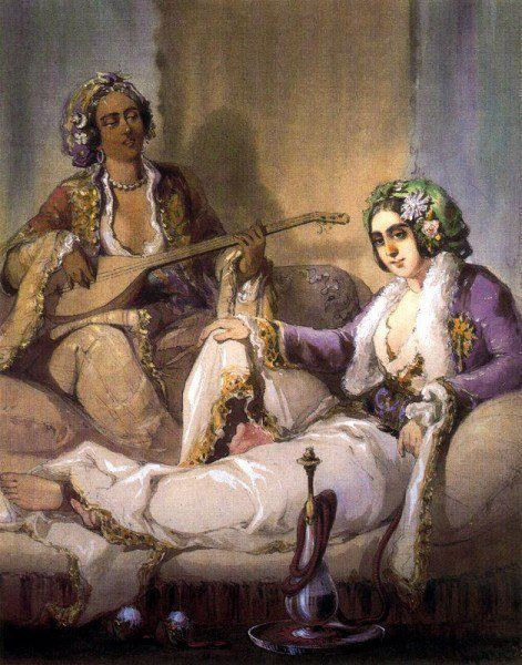 :::: PINTEREST.COM christiancross :::: Amadeo Preziosi (1816-1882) - Femme turque fumant un narguile, 1852
