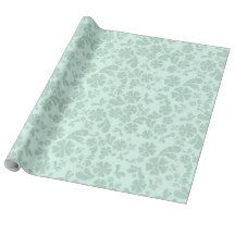 Green Flowers On Green Background Wrapping Paper