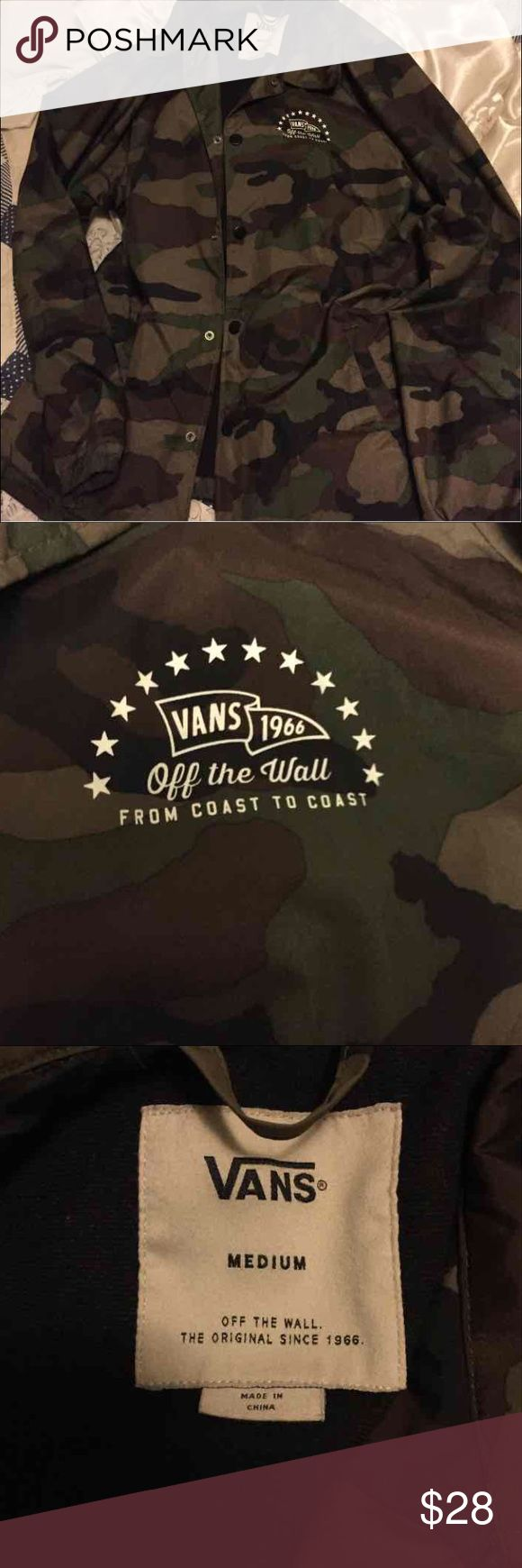 Vans Camo Coaches Jacket Purchased from urban outfitters. Coaches jacket. Worn 3-4 times. Vans. Urban Outfitters Jackets & Coats Windbreakers