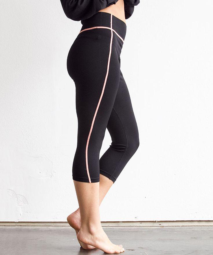 Black & Coral Capri Athletic Pants