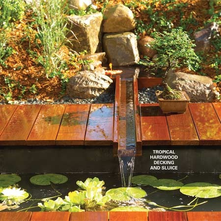 Tiny stream across a deck garden charm pinterest for Garden decking features
