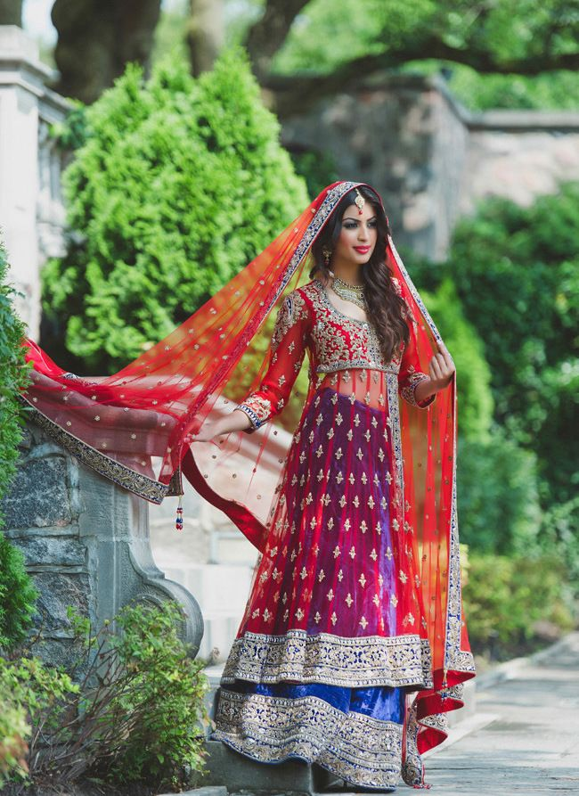 red blue and gold wedding lengha. Wow almost exactly what I want