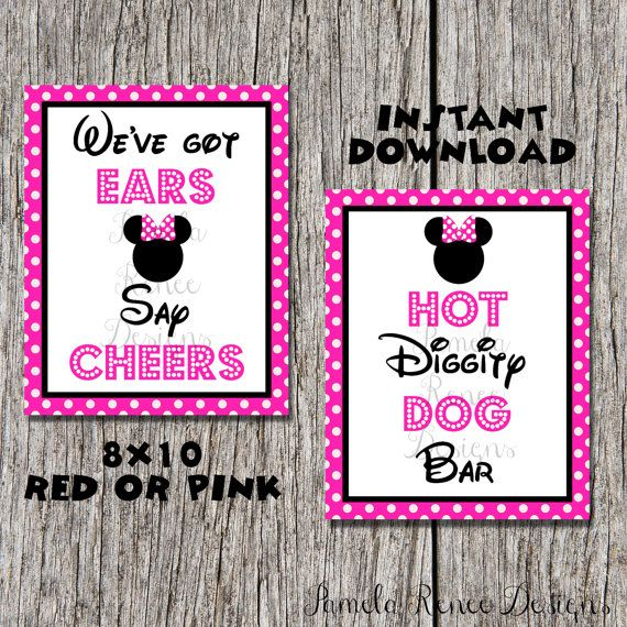 INSTANT DOWNLOAD Printable 8x10 Pink Minnie Party Sign Package. We've Got Ears, Say Cheers and Hot Diggity Dog Bar.