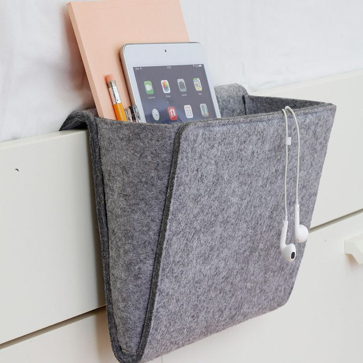 A convenient felt pocket for your bedside or couch,  Measures 10.5\