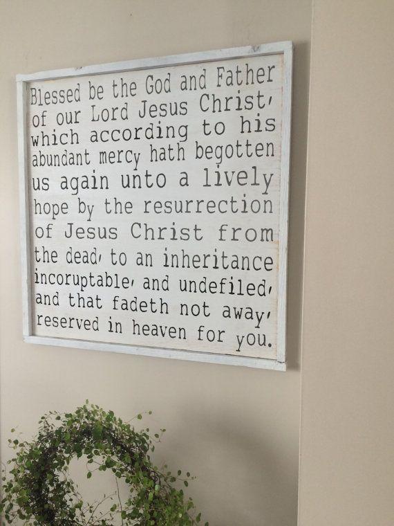 Framed Christian Wood Decor 1 Peter 13 4 Sign Inspirational