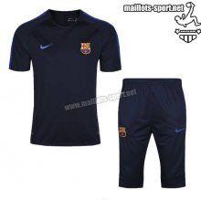 Prix Nouveau Training T-Shirts FC Barcelone + Pantalon 3/4 Bleu Marine Kit 2016 2017 Acheter | maillots-sport