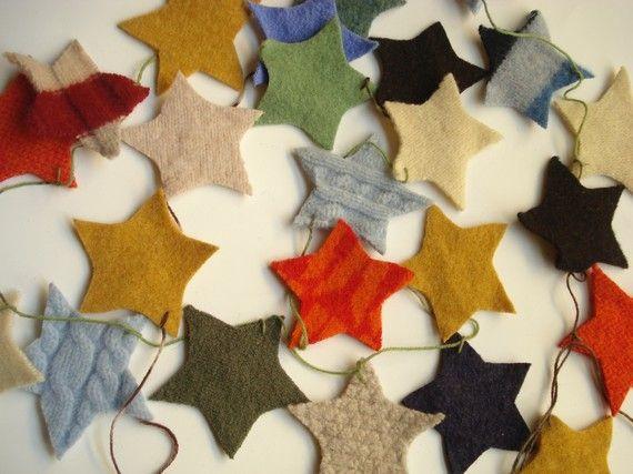 Shabby Chic Upcycled wool holiday garland, natural home decor - STARS via Etsy