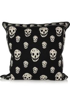 Alexander McQueen Skull tapestry cushion NET-A-PORTER.COM - StyleSays