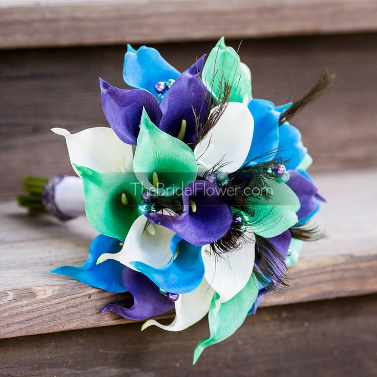 Peacock Bouquet Purple And Turquoise Wedding Calla Lily Bridal With Feathers Mermaid Ready To Ship