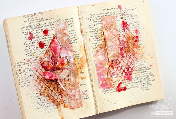 I used a spread in my old book to create an altered book spread - combined with stencilling, texture and All-Purpose Inks I create loads of interest.