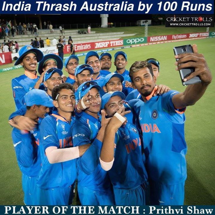 India Beat Australia By 100 Runs At Under 19 World Cup Top Pace Bowling Dismisses Australia For 228 After Prithvi Shaw S 94 Set Up A Bowling World Cup Cricket
