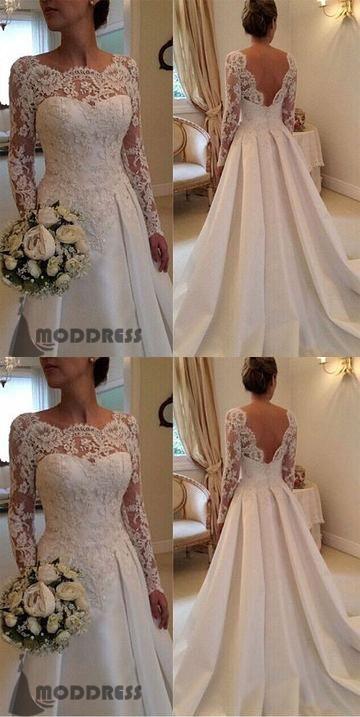 Applique Wedding Dresses Long Sleeve A-Line Backless Bridal Dresses,HS643  #weddingdress#fashion#promdress#eveningdress#promgowns#cocktaildress