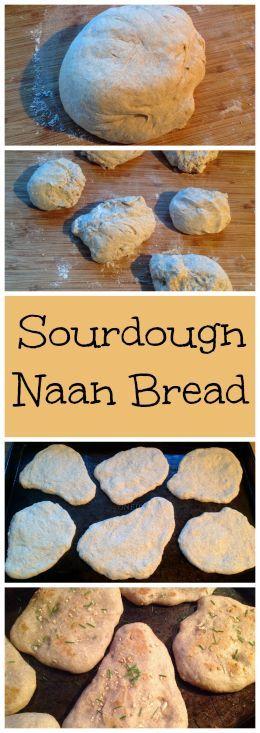 Sourdough Naan Bread ~ Oven baked, half whole wheat, garlic sourdough naan bread.