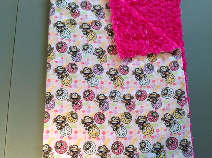 Monkey peace with pink rose small blanket for travel or in the stroller