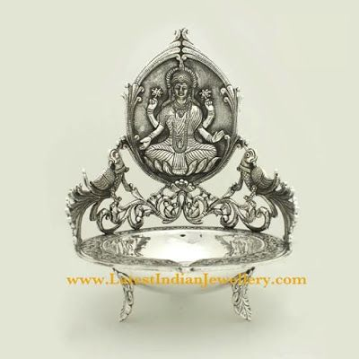 Pure Silver Lakshmi Diya/Deepam   Latest Indian Jewellery Designs