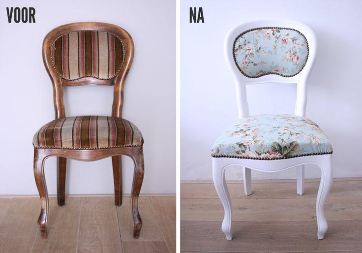 DIY stoeltje VOOR en NA - the best before and after tutorial i've seen!