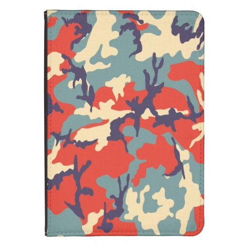 Red/Blue/Beige Camo Pattern Kindle Folio Case - New color palette for this camouflage pattern. Colorful and versatile style for your devices. Stay hidden and glamour! Now available on my store