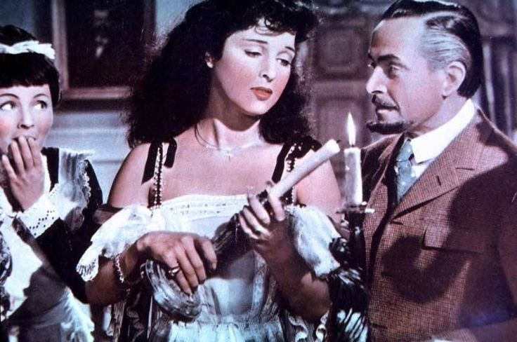 "Laura Gore, Silvana Pampanini and Carlo Dapporto in Pietro Germi's comedy ""La presidentessa"" (English title: ""Mademoiselle Gobete"", 1952)."