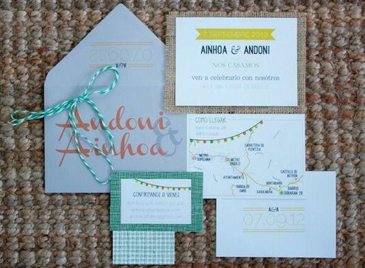 Las invitaciones de bodas handmade caseras de Ainhoa y Andoni #invitaciondebodas #weddinginvitations #tendenciasdebodas