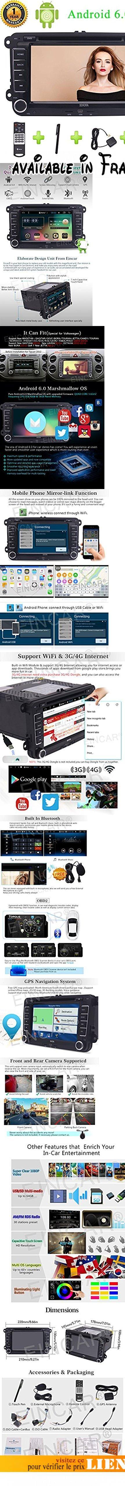 """7"""" Android 6.0 pur lecteur DVD de voiture Unité Univeral Quad-core pour Volkswagen souhait Wifi / 3G / 4G Support Internet OBD2 auj, la fonction Bluetooth GPS navigaiotn tactile et d'assistance funcion radio.. New Devopled Pure Player Android DVD de voiture avec système Marshmallow, 7"""" Android 6.0 pur lecteur DVD de voiture 1.6GHz Quad-core, RAM: 1 Go DDR3, Nand mémoire: 16 Go, Radio IC: NXP TEF6686, sortie audio: 4 * 50W max, écran résolution: 800 * 480 Unité universel"""