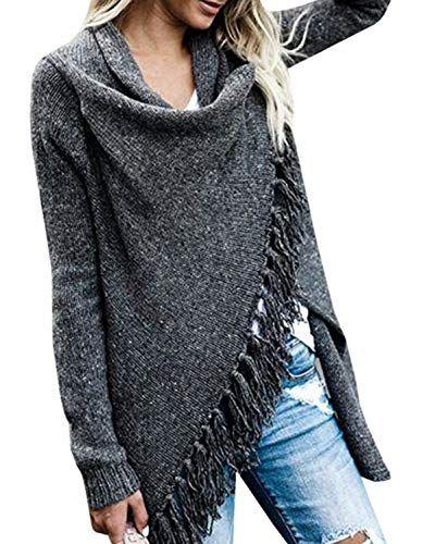 Winter Coats for Women Plus Size with Hood,Women Stripes Poncho Fall Tassels Slash Gradient Shawl Hem Fringe Loose Sweater