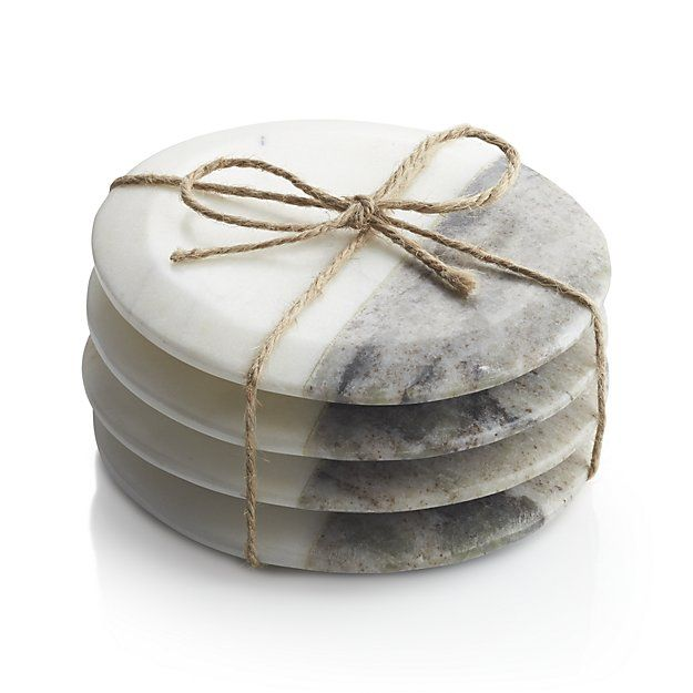 Shop Set of 4 Marble Coasters.  Marble remnants used to create our 2-tone marble boards are crafted into these sleek, contemporary coasters with protective foam feet.