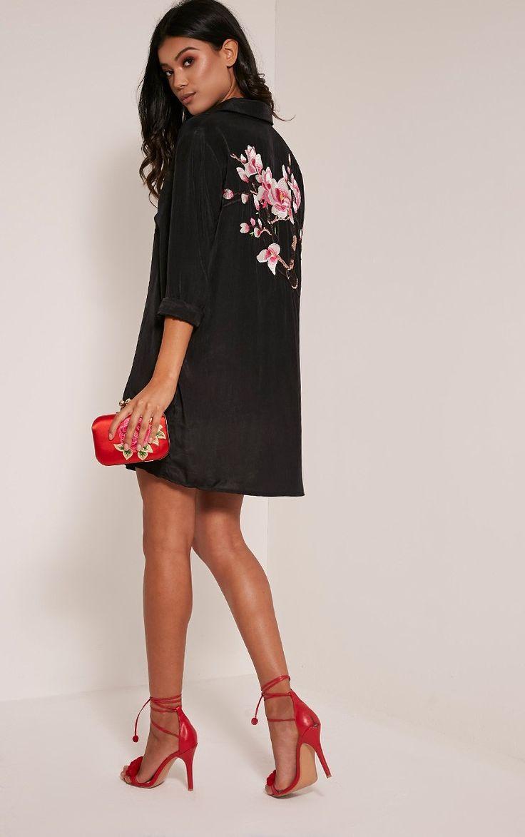 Reeana Black Floral Applique Silk Feel Shirt Dress