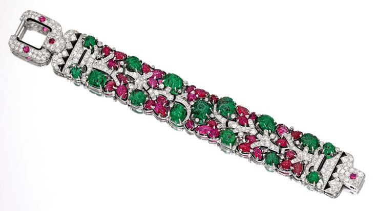 Iconic platinum, emerald, ruby, diamond and enamel Tutti Frutti bracelet by Cartier, circa 1928 (estimate: $1.3-1.8 million).