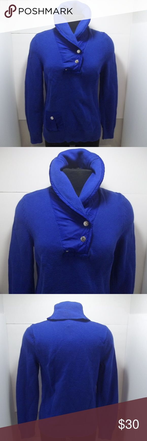 Lauren Ralph Lauren womens windbreaker neck 2B Pre-owned Lauren Ralp Lauren 2 button quarter neck sweater with a windbreaker like material on the neck area and on the pockets of the sweater!  In excellent condition with no holes or stains! Lauren Ralph Lauren Sweaters Cowl & Turtlenecks