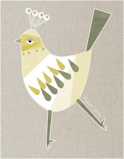 white bird  LARGE mid century design art print by poolponydesign, $70.00
