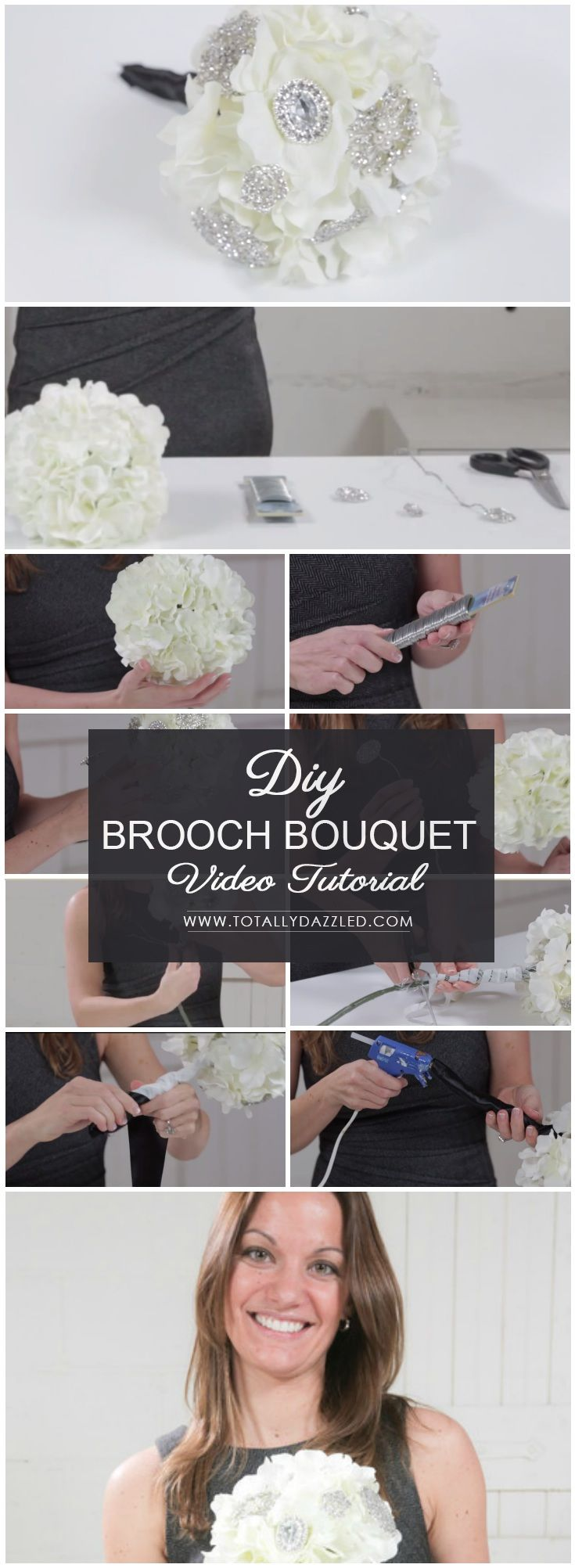Free DIY Simple Brooch Bouquet Tutorial Video! www.totallydazzled.com