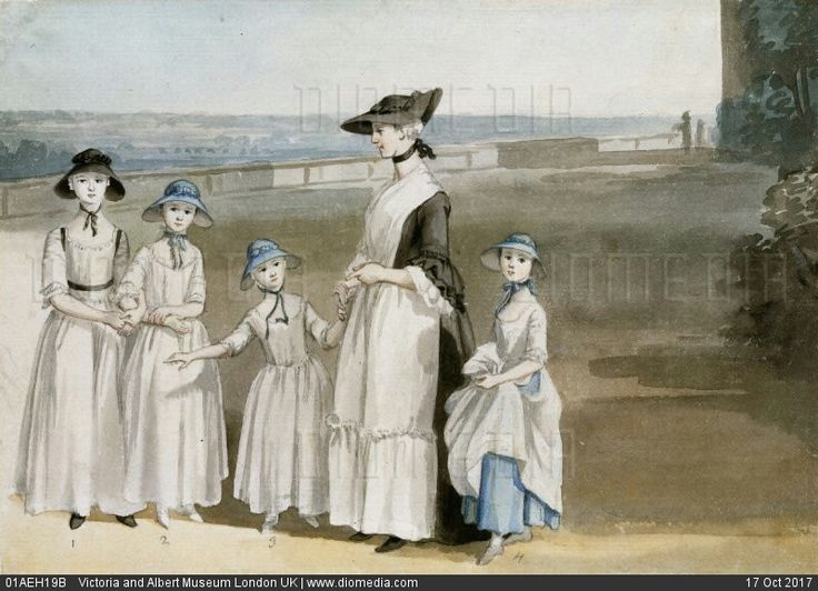 Three Daughters of The 2nd Earl of Waldegrave with Miss Keppel, by Paul Sandby. England, 18th century Three Daughters of The 2nd Earl of Waldegrave, by Paul Sandby (1730-1809). Watercolour. England, 18th century.