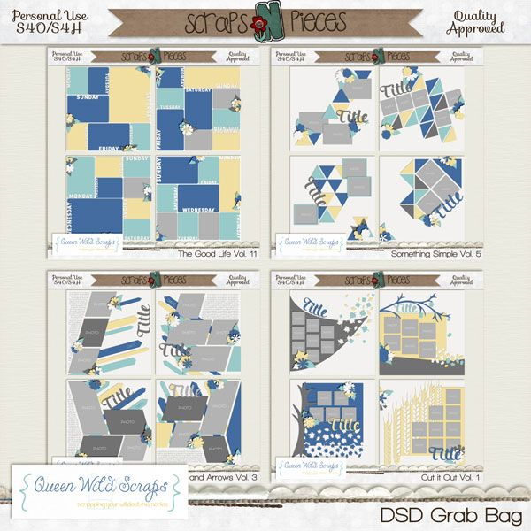 DSD Grab Bag 2014. 16 templates for just $5, quality checked and including page files. Only through Monday, Nov. 3 http://bit.ly/QWS_DSDGB14 #digiscrap #templates #scrapbooking #queenwildscraps #scrapsnpieces