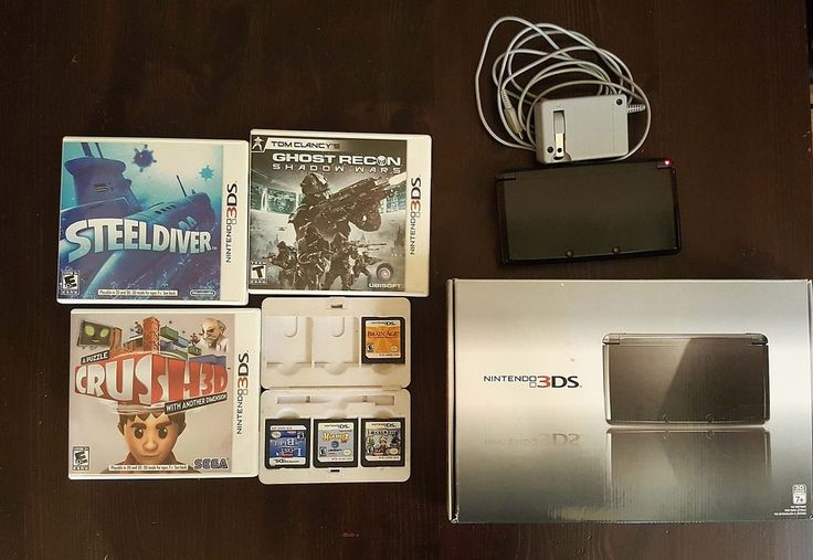 NINTENDO 3DS SYSTEM COSMO BLACK w/ BOX 7 GAMES GHOST RECON CRUSH STEEL DIVER #Nintendo