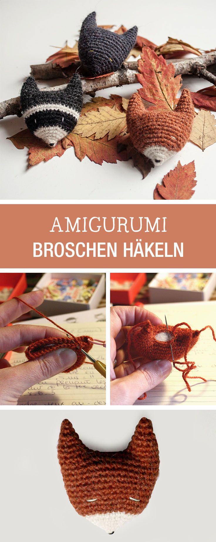 DIY-Anleitung: Deine Herbstdeko selbstgemacht, Amigurimi Broschen als Fuchs häkeln / DIY tutorial: your fall handmade fall decor, crocheting Amigurumi brooch as fox via DaWanda.com
