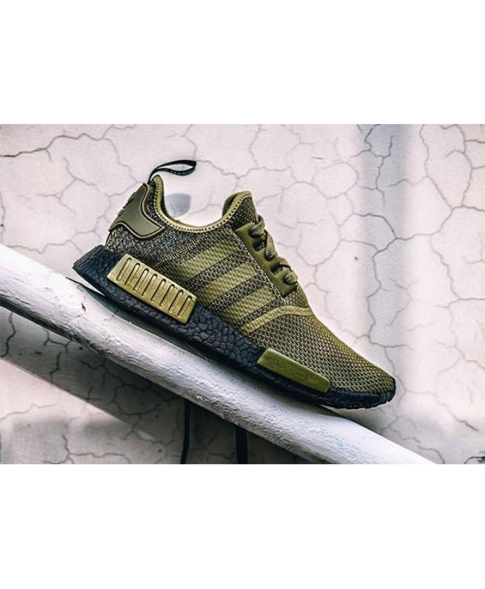 16ca191c5e4bd Cheap Adidas Nmd R1 Olive With Black Boost Sneakers Sale Uk