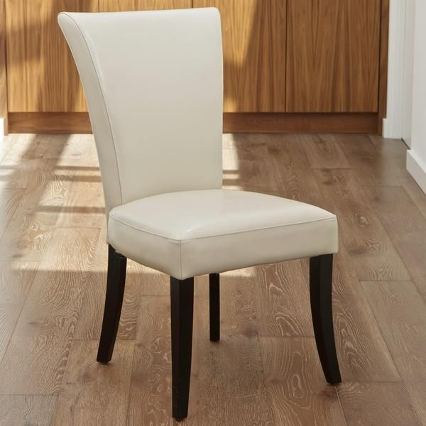 Monroe Ivory Leather Dining Chairs Set Of 2 Leather Dining