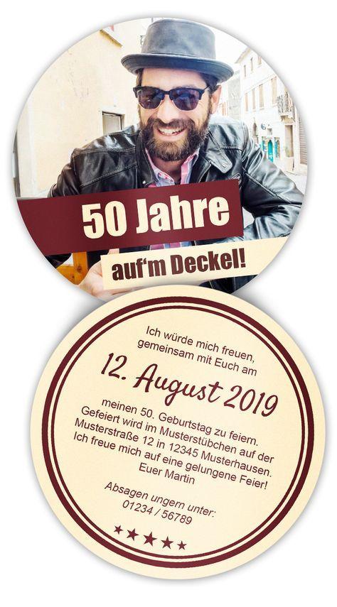 Bierdeckel mit Foto als Geburtstagseinladung - egal ob 50 Geburtstag oder 25 zigster. Einfach selbst Online gestalten! 10,3 cm Druchmesser