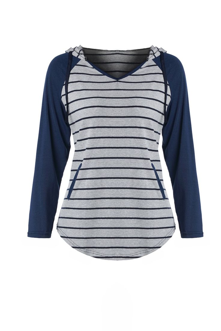 Chic Hooded Long Sleeve Striped Pocket Design Women's Hoodie #CLICK! #clothing, #shoes, #jewelry, #women, #men, #hats, #watches