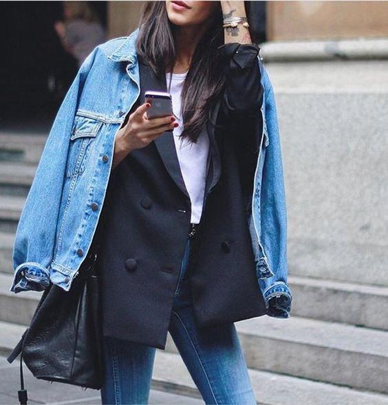 Denim jacket layered over a navy blazer, white t-shirt & skinny jeans | @styleminimalism