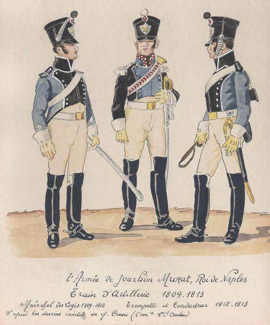 2e Armée de Joachim Murat, roi de Naples Train d'artillerie 1809-1813 Maréchal des logis 1809-1812 Trompette et conducteur 1812-1813